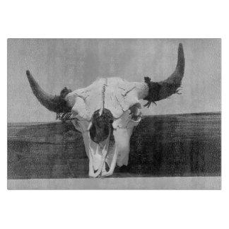 Old Western Bull Skull BW Cutting Board