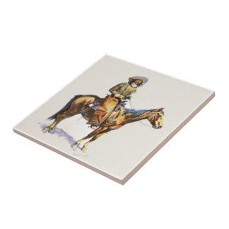 Old Western Cowboy On Horse Tile
