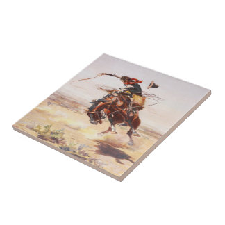 Old Western Cowboy Riding A Bucking Horse Tile