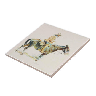 Old Western Cowboy Riding A Mule Tiles