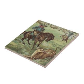 Old Western Cowboys Round Up Steers Ceramic Tiles