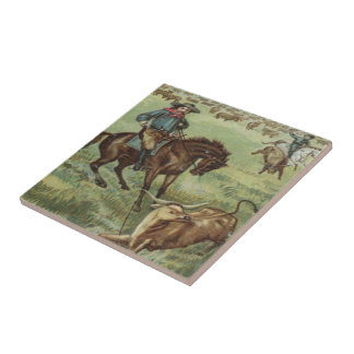 Old Western Cowboys Round Up Steers Tile