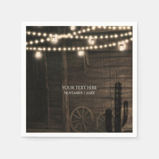 Old Western Saloon & Lights Rustic Wedding Paper Napkin