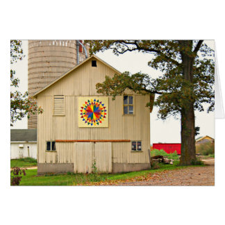 Old White Barn With Rainbow Barn Quilt Card