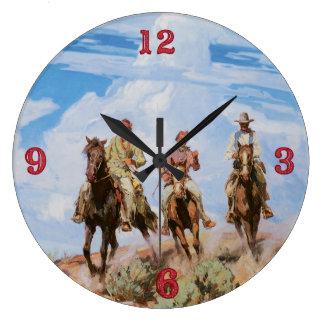Old Wild West Theme Cowboys Clock