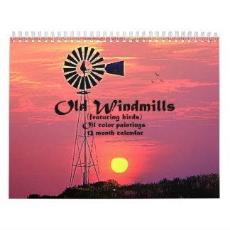 Old Windmills : Oil Colour Paintings Calendar