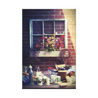 Old Window Frame Planter Garage Sale Photo Canvas Print