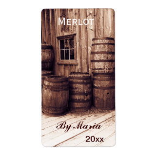 old wine barrels wine bottle label