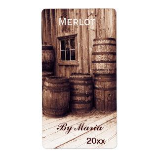 old wine barrels wine bottle label shipping label
