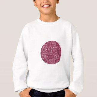 Old Woman Face Circle Mandala Sweatshirt