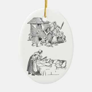 Old Woman Living in Shoe Nursery Rhyme Ceramic Ornament