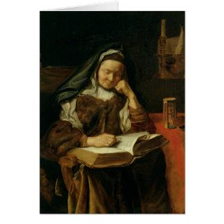 Old Woman Sleeping Card