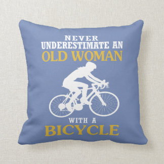 OLD WOMAN WITH A BICYCLE THROW PILLOW