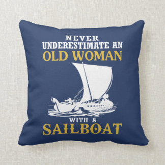 Old Woman With A Sailboat Throw Pillow