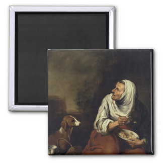 Old Woman with Dog Square Magnet
