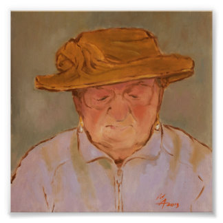 Old Woman with Yellow Hat Photo Print