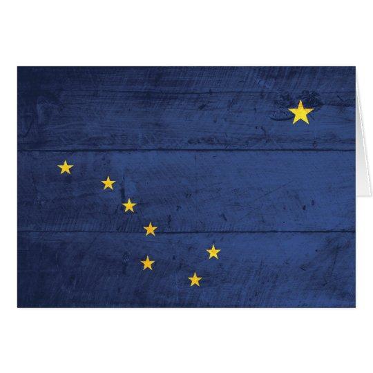 Old Wood Alaska Flag Card