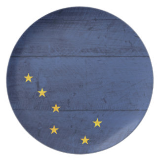 Old Wood Alaska Flag Party Plate
