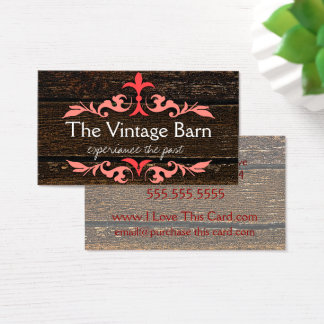 Old Wood and Peach Scroll Business Card