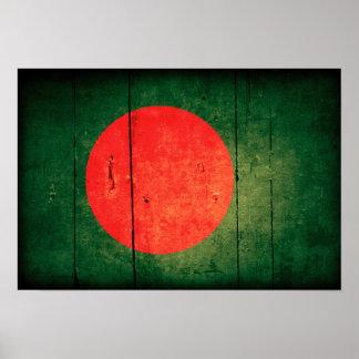 Old Wood Bangladesh Flag Poster