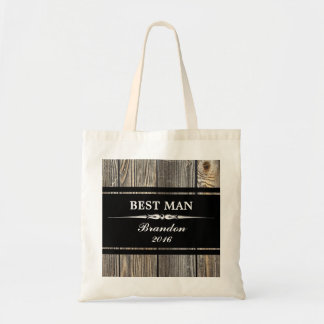 Old Wood Black BEST MAN Wedding Tote Bag