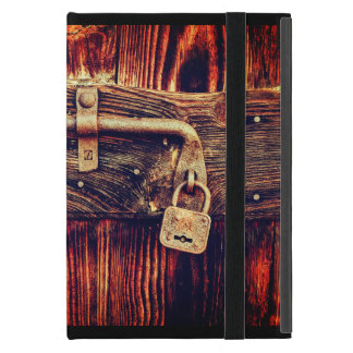 Old wood door with brass lock and bolt ipad case