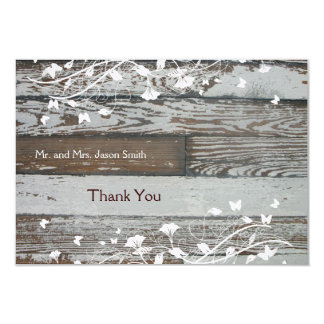 Old Wood flat thank you card with envelope