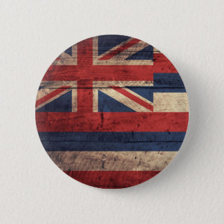 Old Wood Hawaii Flag; 2 Inch Round Button