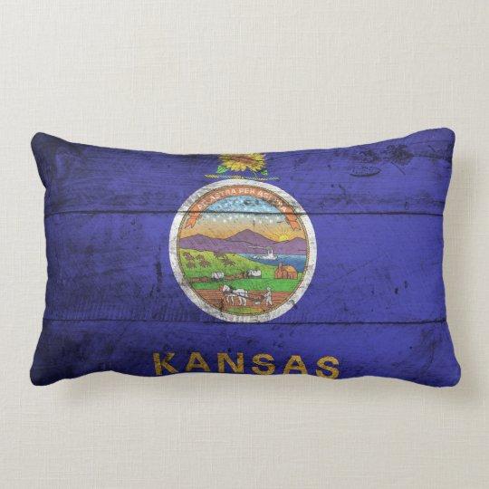 Old Wood Kansas Flag; Lumbar Pillow