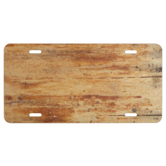 old wood license plate