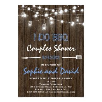 Old Wood Mason Jar String Lights Couples Shower Card