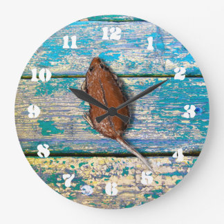 OLD WOOD & MOUSE by Slipperywindow Clock