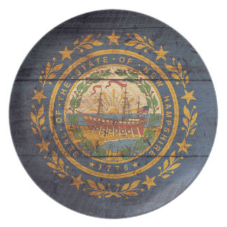 Old Wood New Hampshire Flag; Plates
