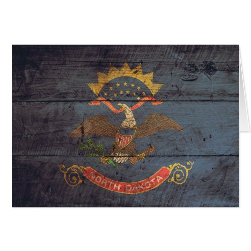 Old Wood North Dakota Flag; Cards