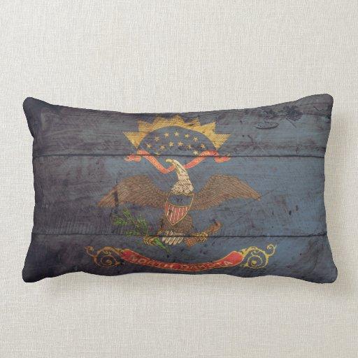 Old Wood North Dakota Flag; Throw Pillow