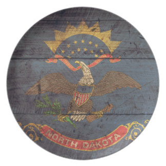 Old Wood North Dakota Flag; Party Plates