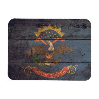 Old Wood North Dakota Flag; Rectangular Photo Magnet