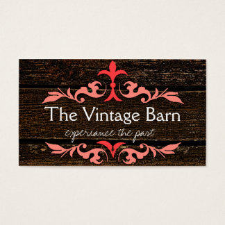 Old Wood & Peach Scroll Business Card