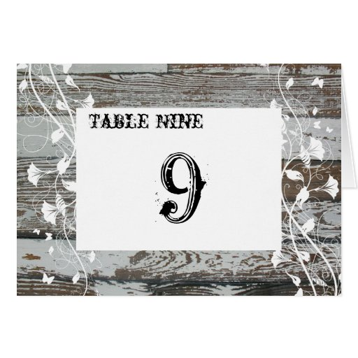 Old Wood Table Number Cards