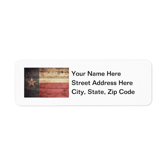 Old Wood Texas Flag Return Address Label