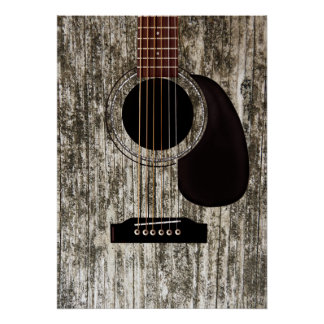 Old Wood Top Acoustic Guitar Poster
