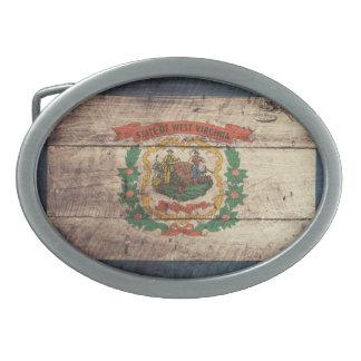 Old Wood West Virginia Flag Belt Buckles