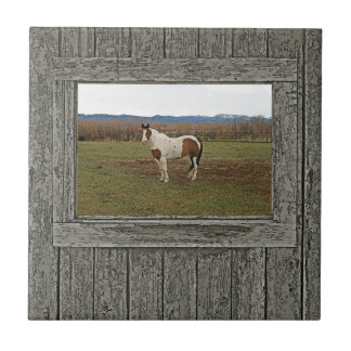 Old wood window paint horse ceramic tile