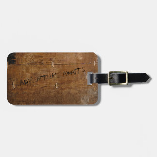 Old Wood with (customizable) Scratched Text Luggage Tag