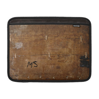 """Old Wood"" with your Initial(s) ""scratched on"" MacBook Sleeve"
