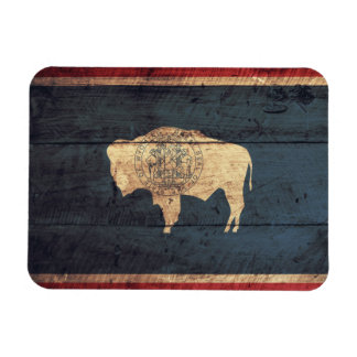 Old Wood Wyoming Flag Magnet