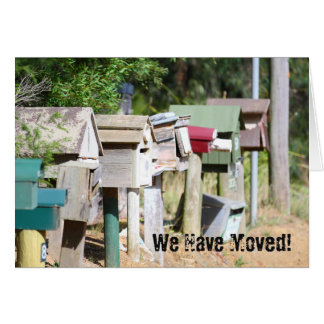 Old wooden aged letter boxes for  We have moved! Card