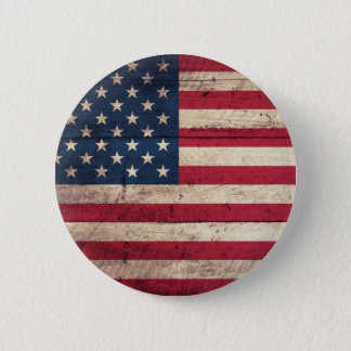Old Wooden American Flag 2 Inch Round Button