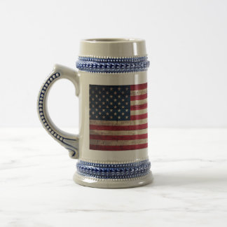 Old Wooden American Flag Beer Stein