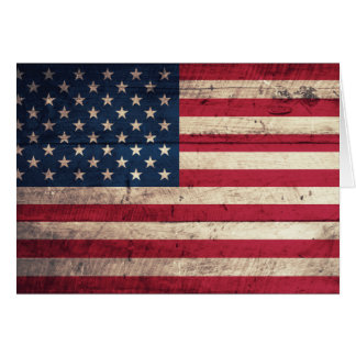 Old Wooden American Flag Card